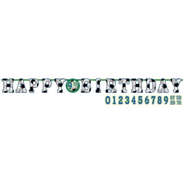 Fotbal nápis šťastné narozeniny 3,2m x 25cm + čísla k nalepení