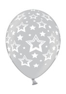 Stars balonek metallic 061 stříbrný s plným potiskem