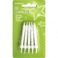 Dortové svíčky s držáky bílé 10ks