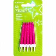 Dortové svíčky tmavě růžové s glitry a držáky 10ks