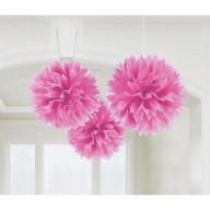Závěsné dekorace růžové 3 ks 40,6 cm Amscan