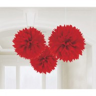 Závěsné dekorace červené 3 ks 40,6 cm Amscan