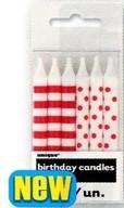 Svíčky červeno-bílé 12ks