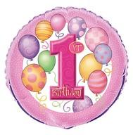 1. narozeniny foliový balonek růžový 45cm