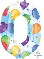 Balónky fóliové narozeniny číslo 0 motiv balónky 86cm