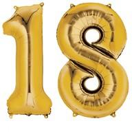 Balónky fóliové narozeniny číslo 18 zlaté 86cm