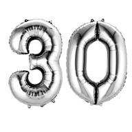 Balónky fóliové narozeniny číslo 30 stříbrné 86cm