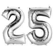 Balónky fóliové narozeniny číslo 25 stříbrna 86cm