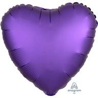 Balónek srdce foliové satén fialové