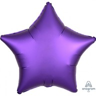 Balónek hvězda foliová satén fialová