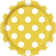 Talíře žluto - bílé tečky 8ks 18cm
