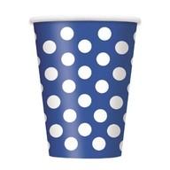 Kelímky modro - bílé tečky 6ks 355ml