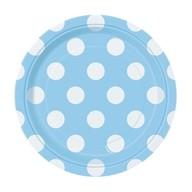 Talíře světle modro - bílé tečky 8ks 18cm
