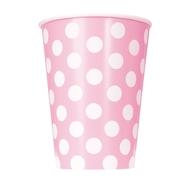 Kelímky světle růžové - bílé tečky 6ks 355ml
