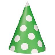 Čepice zeleno - bílé 8ks