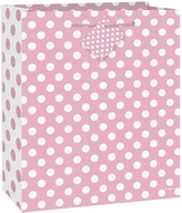 Taška na dárek velká světle růžovo - bílé tečky 27cm x 33 cm