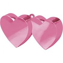 Závaží na balónky srdíčka růžové spojené