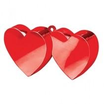 Závaží na balónky srdíčka 2ks červené spojené