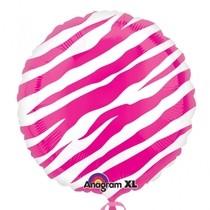 Foliový balónek zebra růžový 45cm
