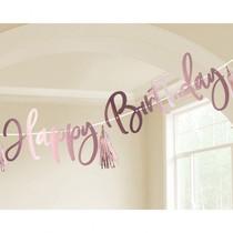 Happy Birthday nápis narozeniny růžovo-zlatý 2,74 m