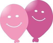 Balonek smajlik 5ks ruzový