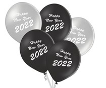 Balónky Happy New Year 2020 mix 5ks stříbrné a černé balónky