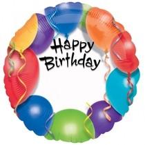 Fóliový balónek šťastné narozeniny 45cm