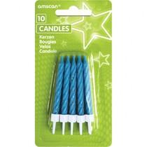 Dortové svíčky modré s glitry a držáky 10 ks