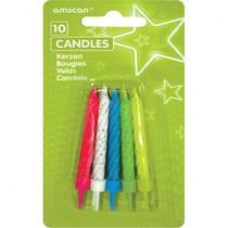 Dortové svíčky barevné s glitry a držáky 10ks