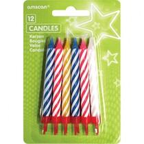 Dortové svíčky barevné s držáky 12ks