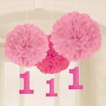 1. narozeniny závěsné dekorace růžové 3 ks