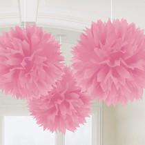 Závěsné dekorace svetle ružové 3 ks 40,6 cm