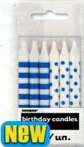 Svíčky modro-bílé 12ks