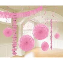 Závěsné dekorace růžové 18 ks