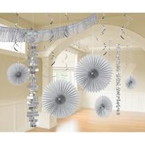 Závěsné dekorace stříbrné 18 ks