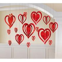 Srdíčka 3D závěsné dekorace 16 ks