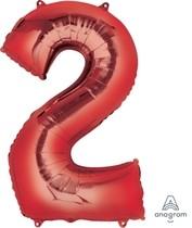 Balónky fóliové narozeniny číslo 2 červené 86cm