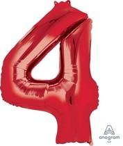 Balónky fóliové narozeniny číslo 4 červené 86cm