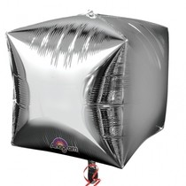 Foliový balónek kostka stříbrná 38 cm