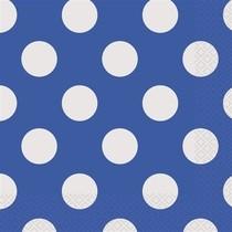 Ubrousky modro - bílé tečky 16ks