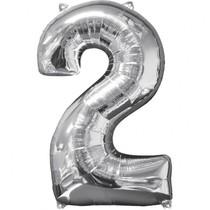 Balónek fóliový narozeniny číslo 2 stříbrný 66cm