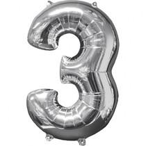 Balónek fóliový narozeniny číslo 3 stříbrný 66cm