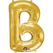 Písmena B zlaté foliové balónky 83 cm x 58 cm