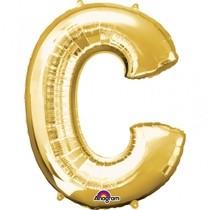 Písmena C zlaté foliové balónky 81 cm x 63 cm