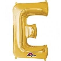 Písmena E zlaté foliové balónky 81 cm x 53 cm