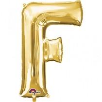 Písmena F zlaté foliové balónky 81 cm x 53 cm
