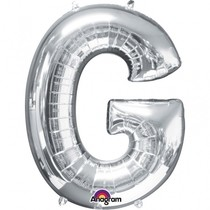 Písmena G stříbrné foliové balónky 81 cm x 63 cm