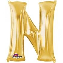 Písmena N zlaté foliové balónky 81 cm x 53 cm