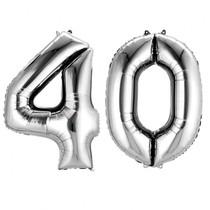 Balónky fóliové narozeniny číslo 40 stříbrné 86cm