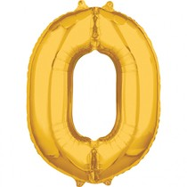 Balónek fóliový narozeniny číslo 0 zlatý 66cm